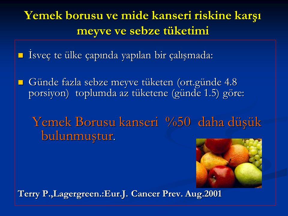 Yemek borusu ve mide kanseri riskine karşı meyve ve sebze tüketimi
