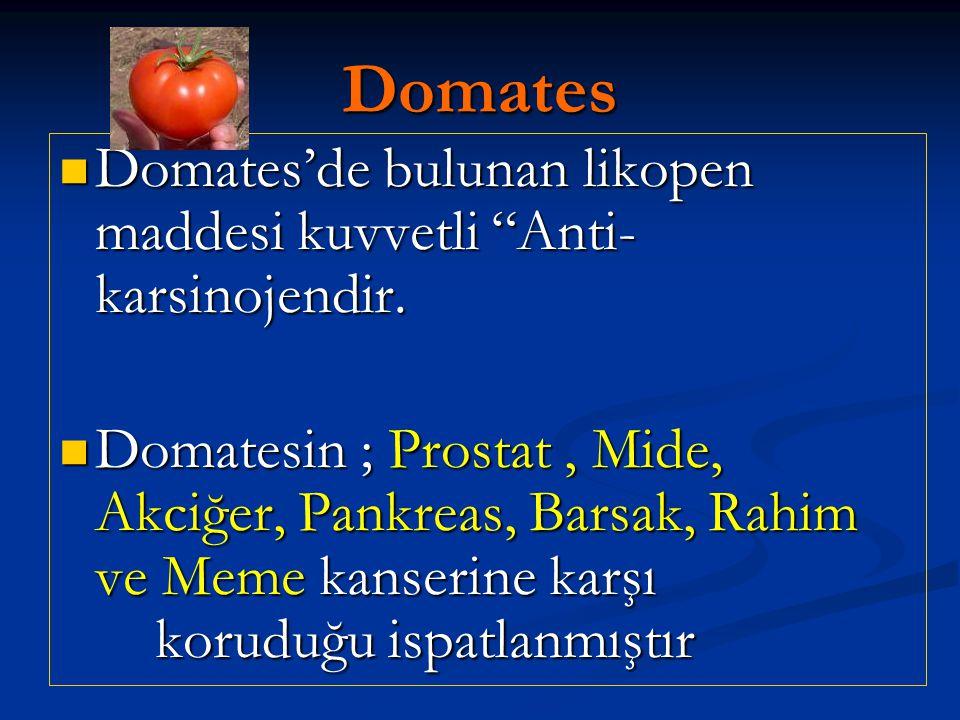 Domates Domates'de bulunan likopen maddesi kuvvetli Anti-karsinojendir.