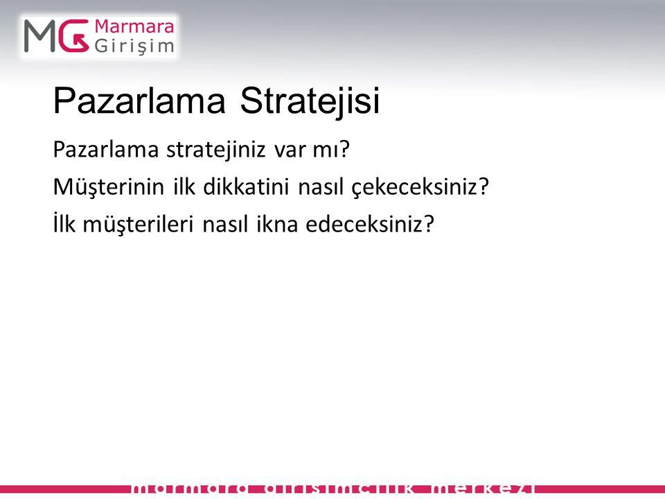 Pazarlama Stratejisi Pazarlama stratejiniz var mı.