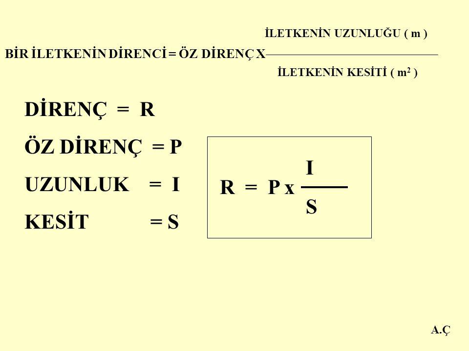 DİRENÇ = R ÖZ DİRENÇ = P UZUNLUK = I KESİT = S I R = P x S