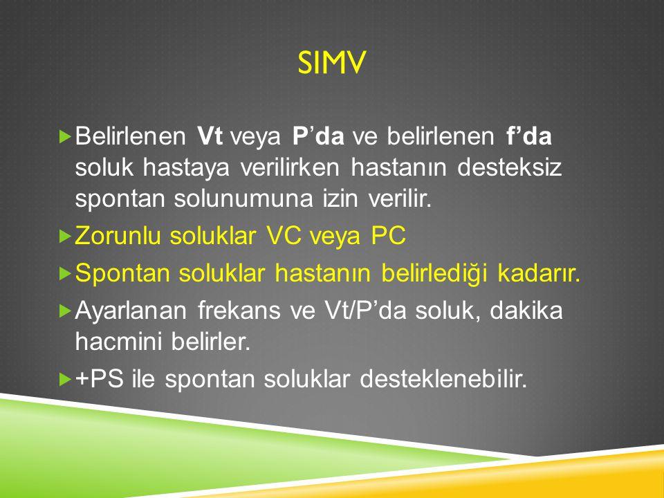 SIMV Belirlenen Vt veya P'da ve belirlenen f'da soluk hastaya verilirken hastanın desteksiz spontan solunumuna izin verilir.