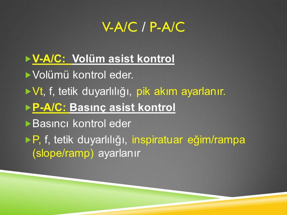 V-A/c / P-A/C V-A/C: Volüm asist kontrol Volümü kontrol eder.