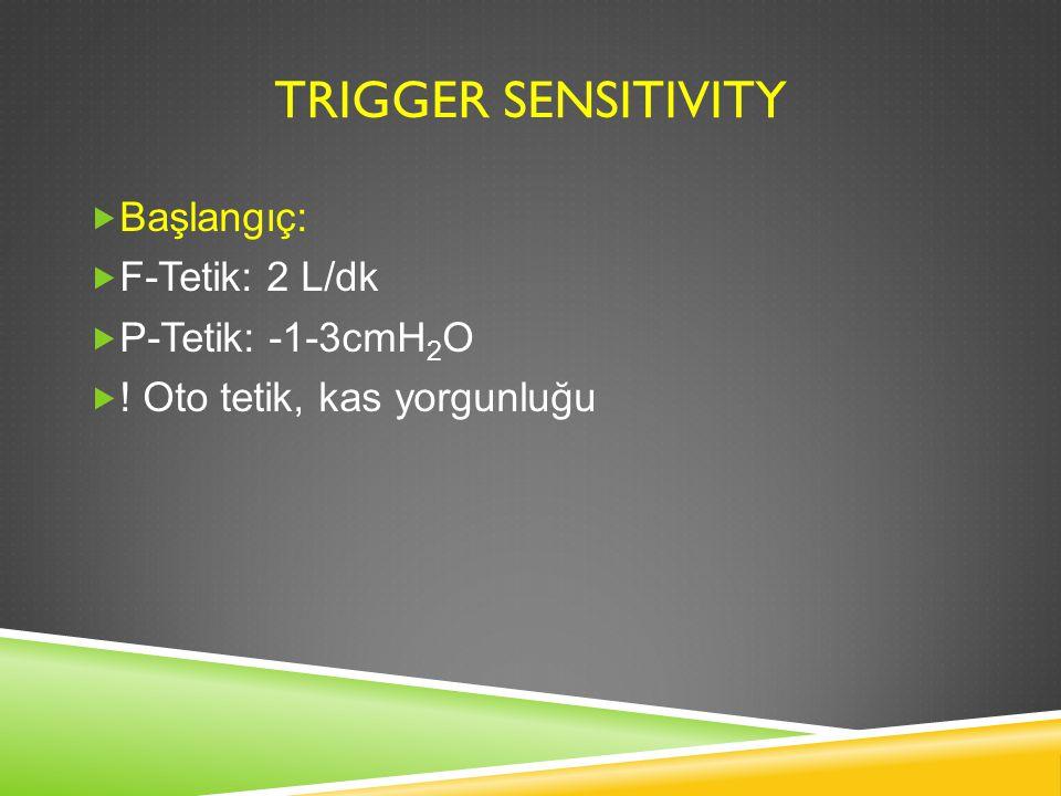 Trigger sensitivity Başlangıç: F-Tetik: 2 L/dk P-Tetik: -1-3cmH2O