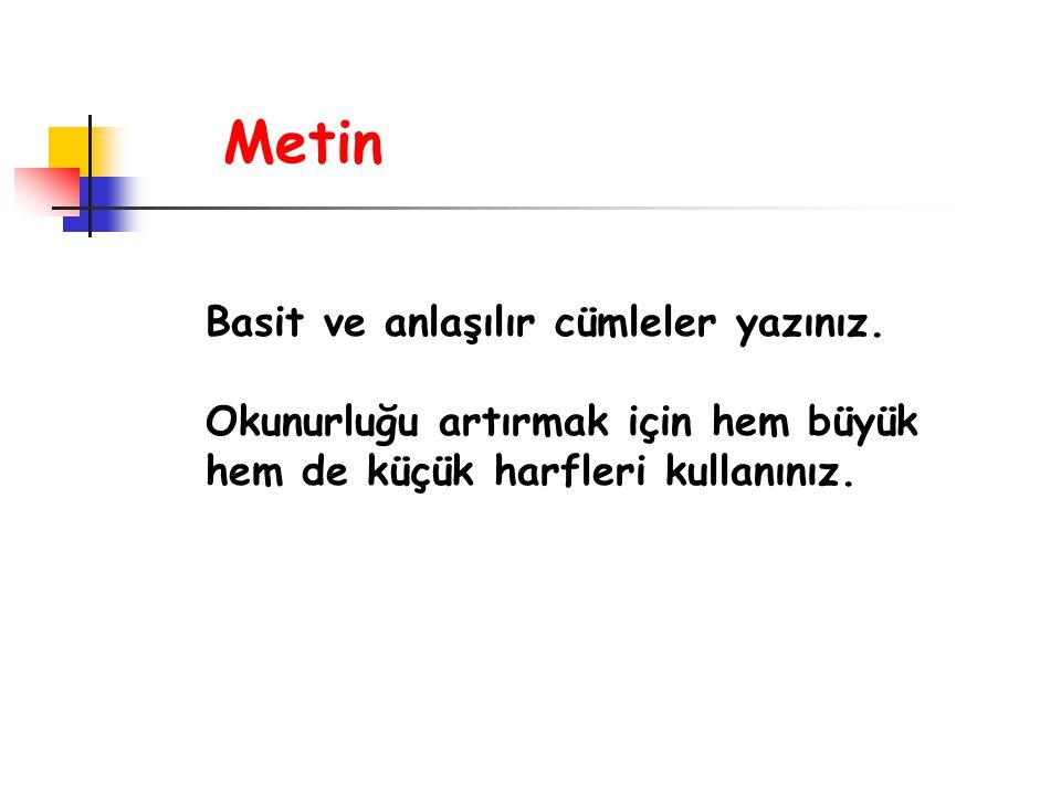 Metin Basit ve anlaşılır cümleler yazınız.