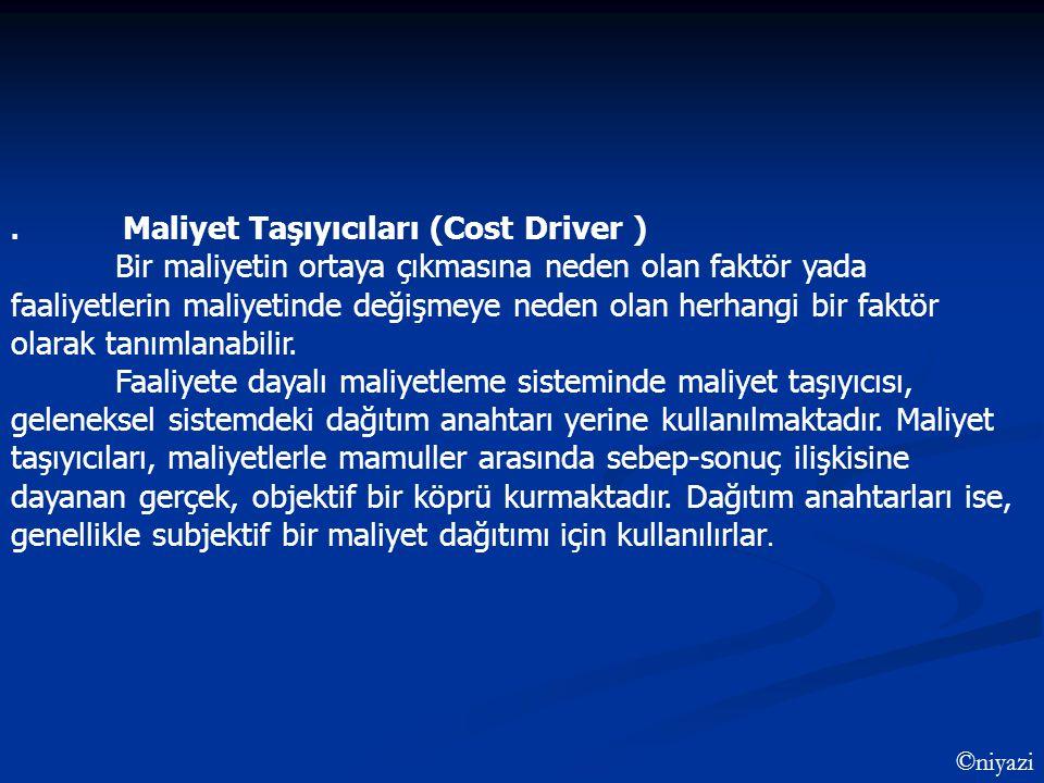 . Maliyet Taşıyıcıları (Cost Driver )
