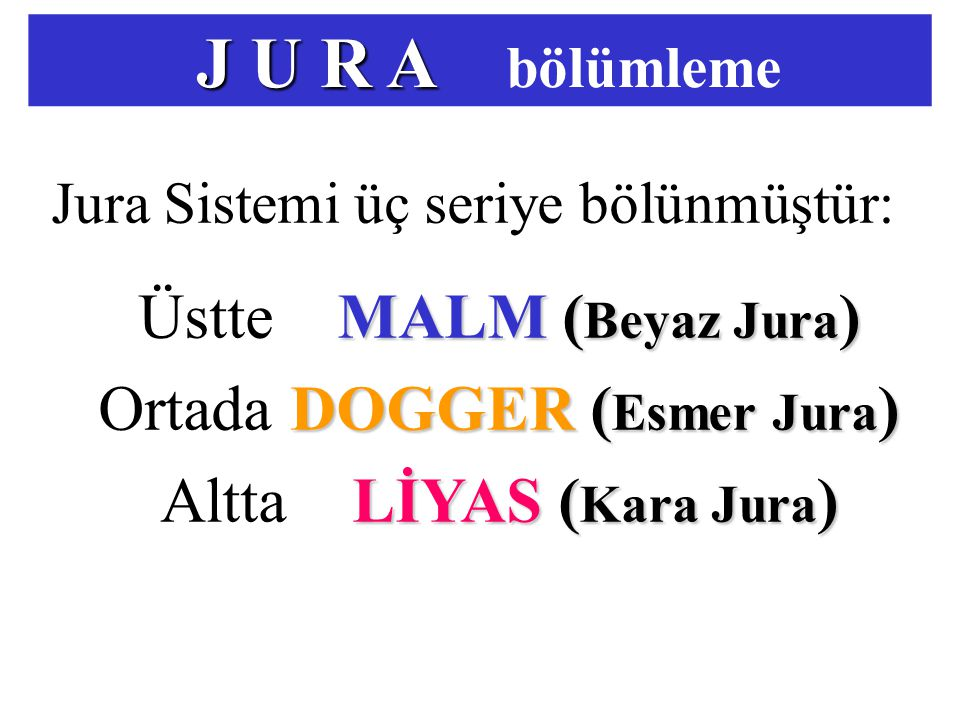 J U R A bölümleme Üstte MALM (Beyaz Jura) Ortada DOGGER (Esmer Jura)
