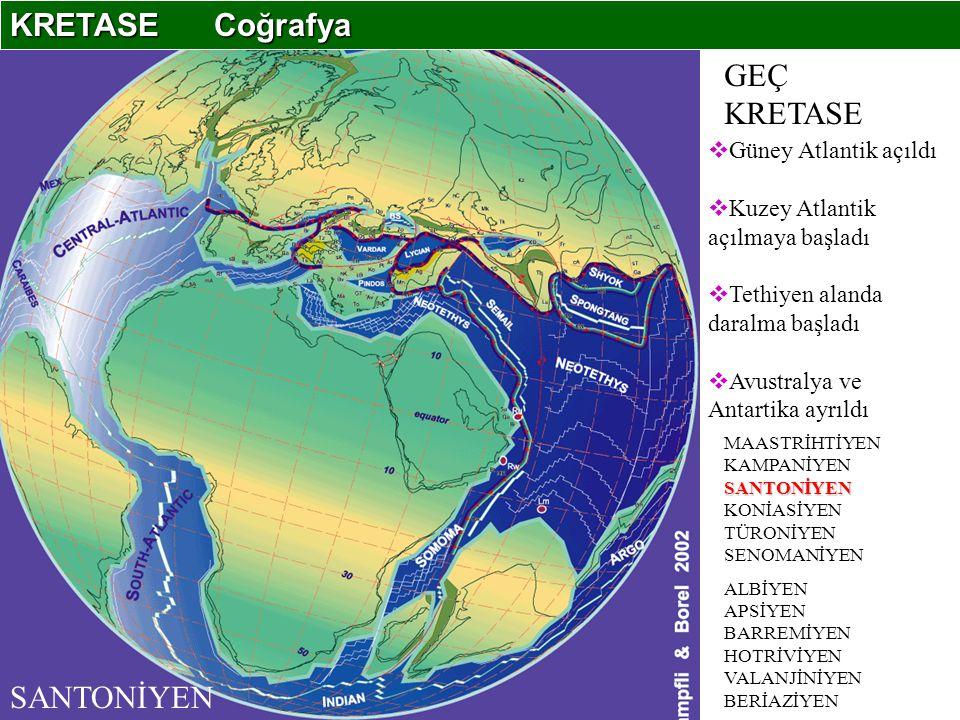 KRETASE Coğrafya GEÇ KRETASE SANTONİYEN Güney Atlantik açıldı