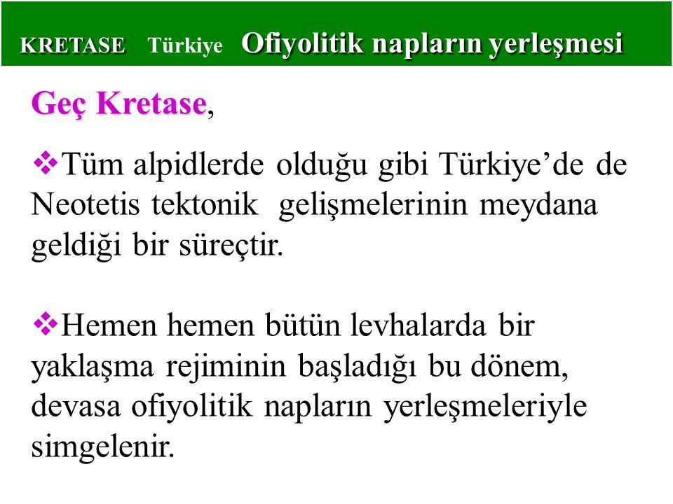 KRETASE Türkiye Ofiyolitik napların yerleşmesi