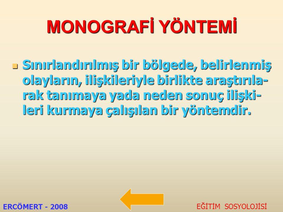 MONOGRAFİ YÖNTEMİ