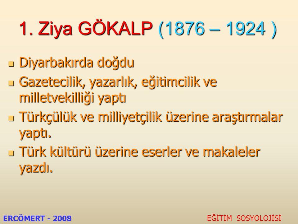 1. Ziya GÖKALP (1876 – 1924 ) Diyarbakırda doğdu