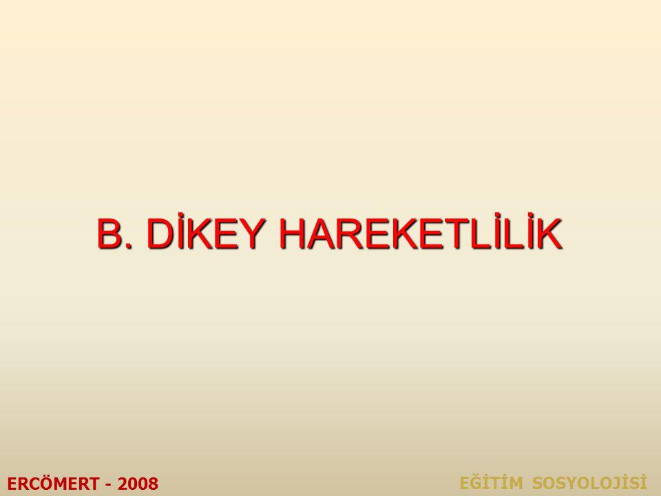 B. DİKEY HAREKETLİLİK ERCÖMERT - 2008 EĞİTİM SOSYOLOJİSİ