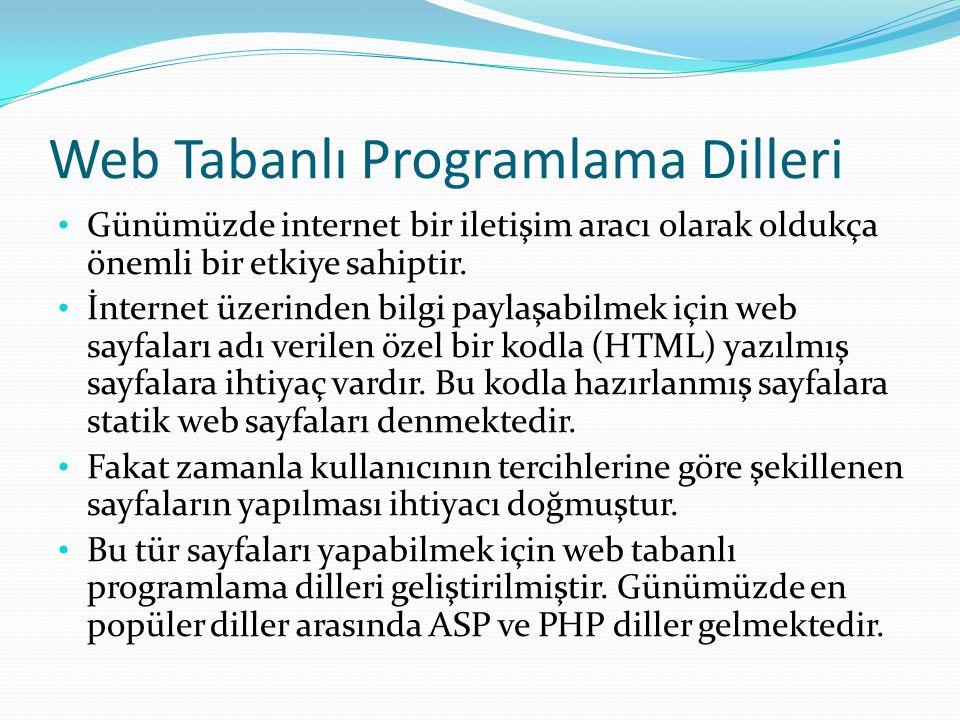 Web Tabanlı Programlama Dilleri