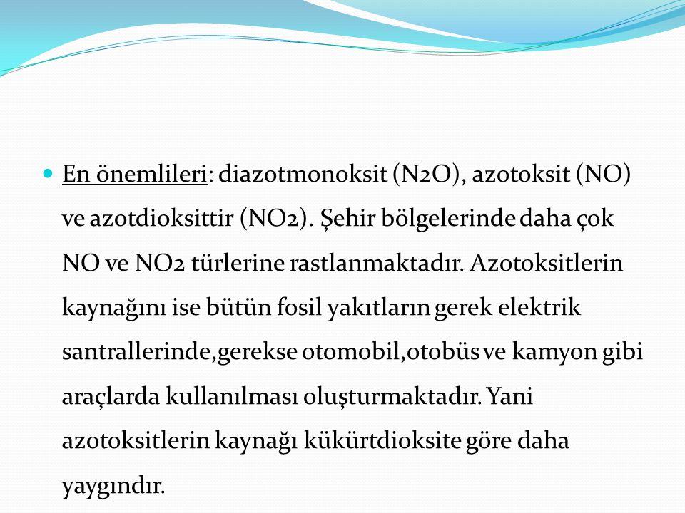 En önemlileri: diazotmonoksit (N2O), azotoksit (NO) ve azotdioksittir (NO2).