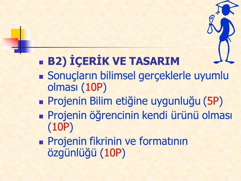 B2) İÇERİK VE TASARIM Sonuçların bilimsel gerçeklerle uyumlu olması (10P) Projenin Bilim etiğine uygunluğu (5P)