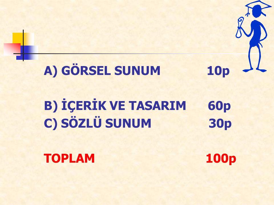 A) GÖRSEL SUNUM 10p B) İÇERİK VE TASARIM 60p.