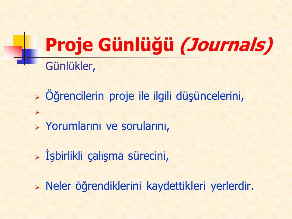 Proje Günlüğü (Journals)