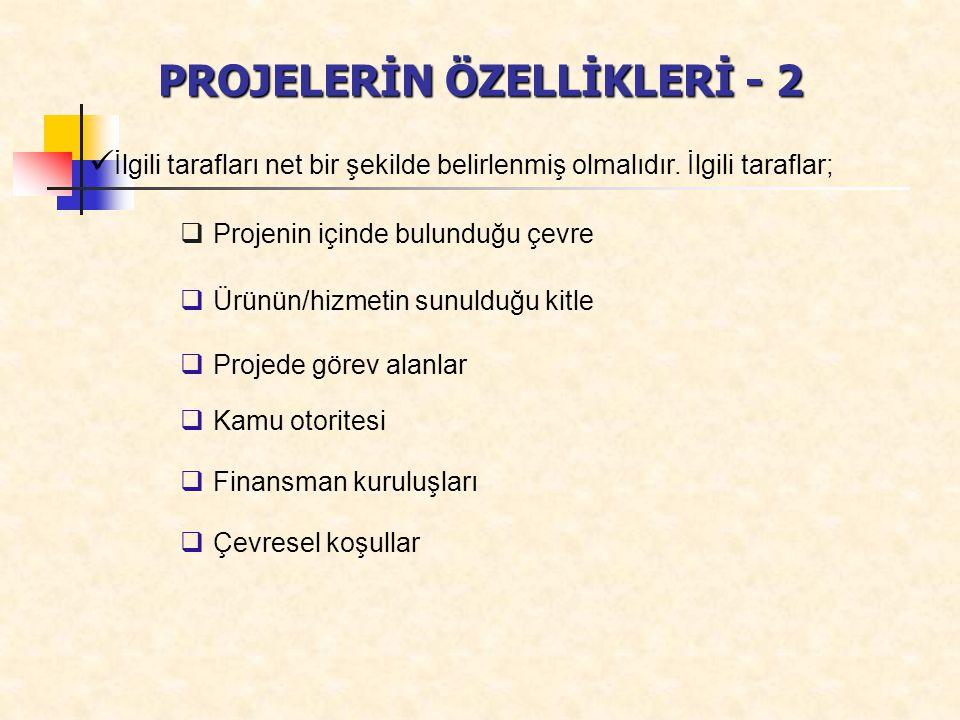 PROJELERİN ÖZELLİKLERİ - 2