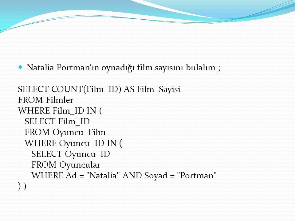 Natalia Portman'ın oynadığı film sayısını bulalım ;