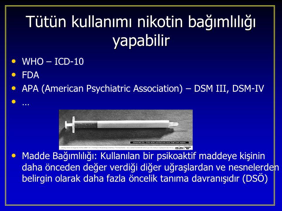 Tütün kullanımı nikotin bağımlılığı yapabilir