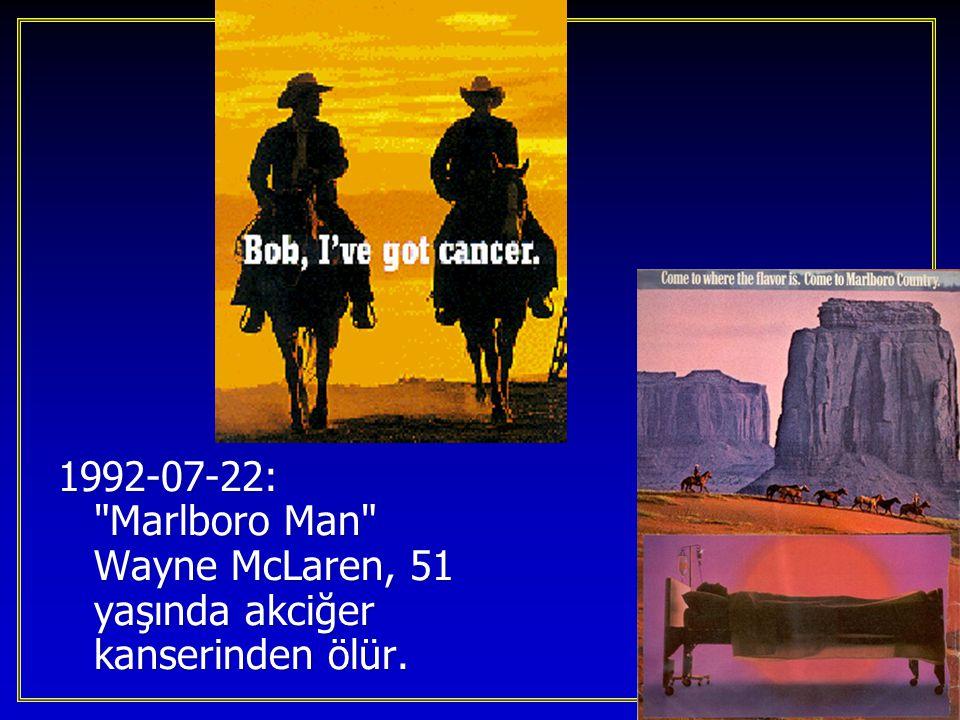 1992-07-22: Marlboro Man Wayne McLaren, 51 yaşında akciğer kanserinden ölür.