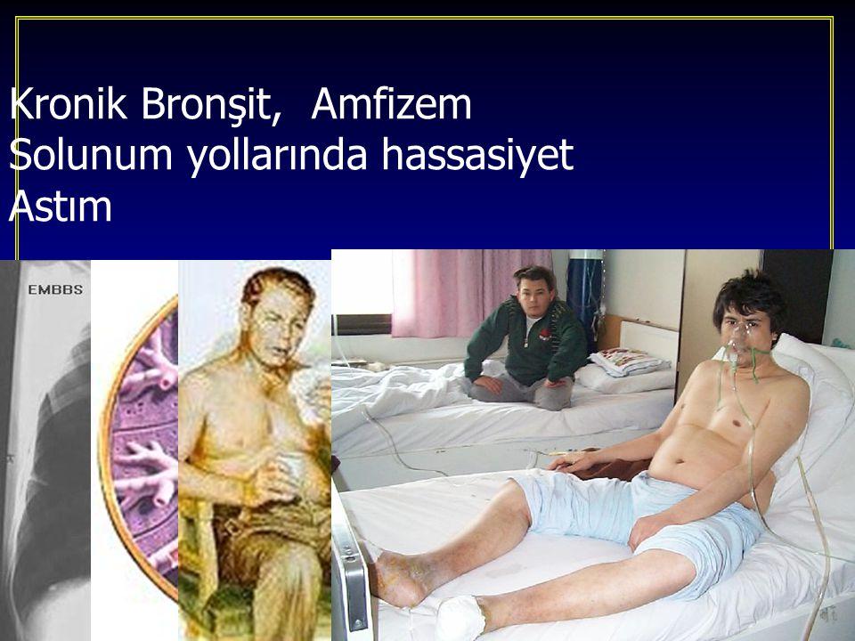 Kronik Bronşit, Amfizem Solunum yollarında hassasiyet Astım