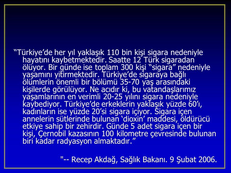 Türkiye'de her yıl yaklaşık 110 bin kişi sigara nedeniyle hayatını kaybetmektedir. Saatte 12 Türk sigaradan ölüyor. Bir günde ise toplam 300 kişi sigara nedeniyle yaşamını yitirmektedir. Türkiye'de sigaraya bağlı ölümlerin önemli bir bölümü 35-70 yaş arasındaki kişilerde görülüyor. Ne acıdır ki, bu vatandaşlarımız yaşamlarının en verimli 20-25 yılını sigara nedeniyle kaybediyor. Türkiye'de erkeklerin yaklaşık yüzde 60'ı, kadınların ise yüzde 20'si sigara içiyor. Sigara içen annelerin sütlerinde bulunan 'dioxin' maddesi, öldürücü etkiye sahip bir zehirdir. Günde 5 adet sigara içen bir kişi, Çernobil kazasının 100 kilometre çevresinde bulunan biri kadar radyasyon almaktadır.