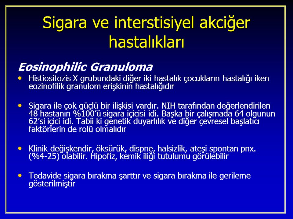 Sigara ve interstisiyel akciğer hastalıkları
