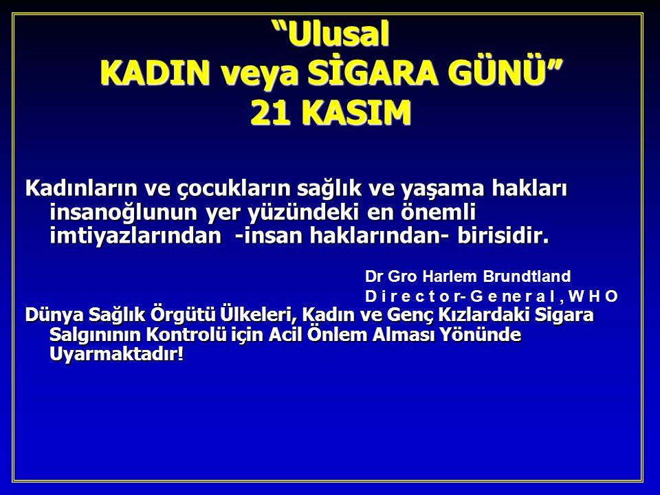 Ulusal KADIN veya SİGARA GÜNÜ 21 KASIM