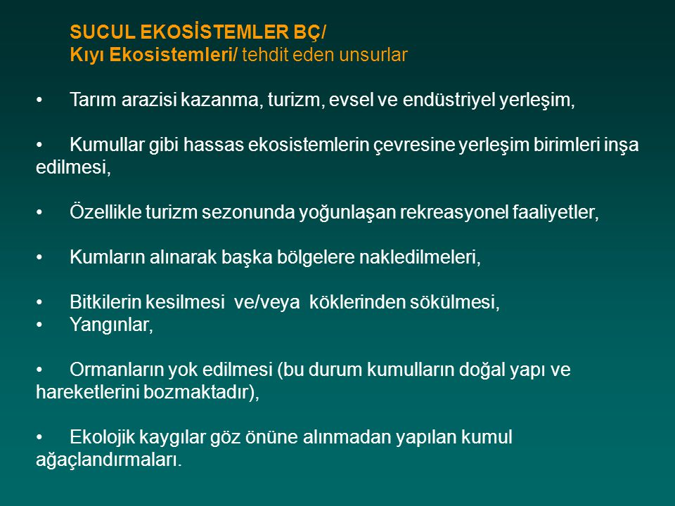 SUCUL EKOSİSTEMLER BÇ/