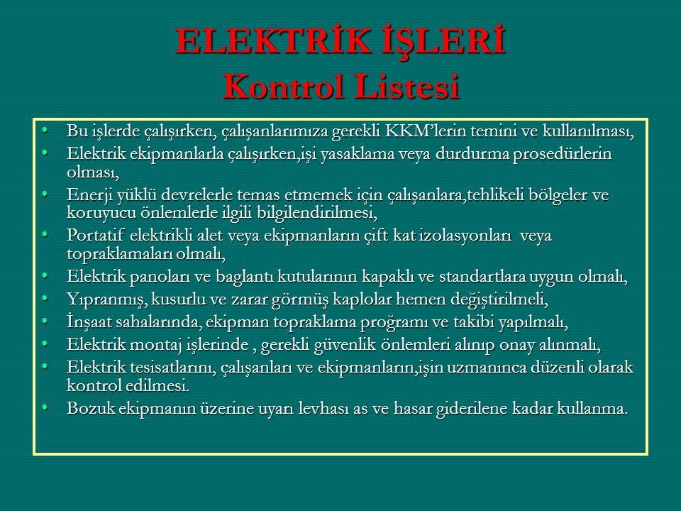 ELEKTRİK İŞLERİ Kontrol Listesi