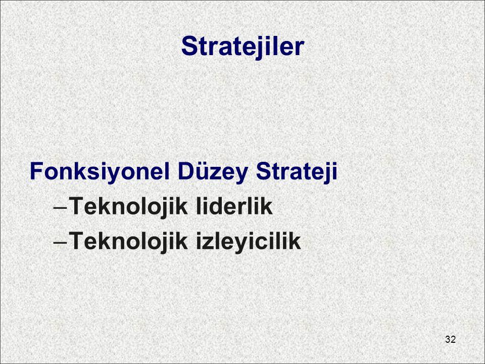 Stratejiler Fonksiyonel Düzey Strateji Teknolojik liderlik