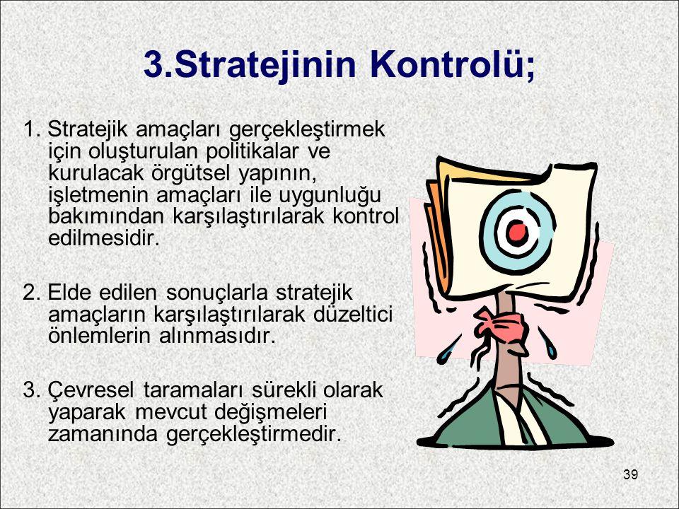 3.Stratejinin Kontrolü;