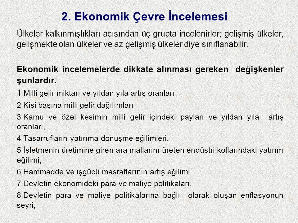 2. Ekonomik Çevre İncelemesi