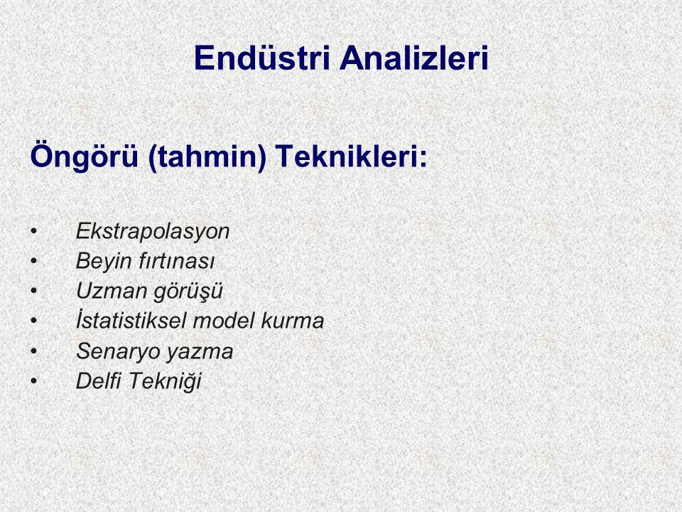Endüstri Analizleri Öngörü (tahmin) Teknikleri: Ekstrapolasyon