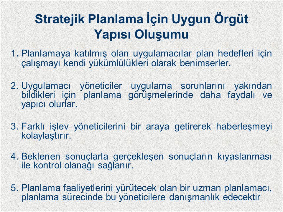 Stratejik Planlama İçin Uygun Örgüt Yapısı Oluşumu