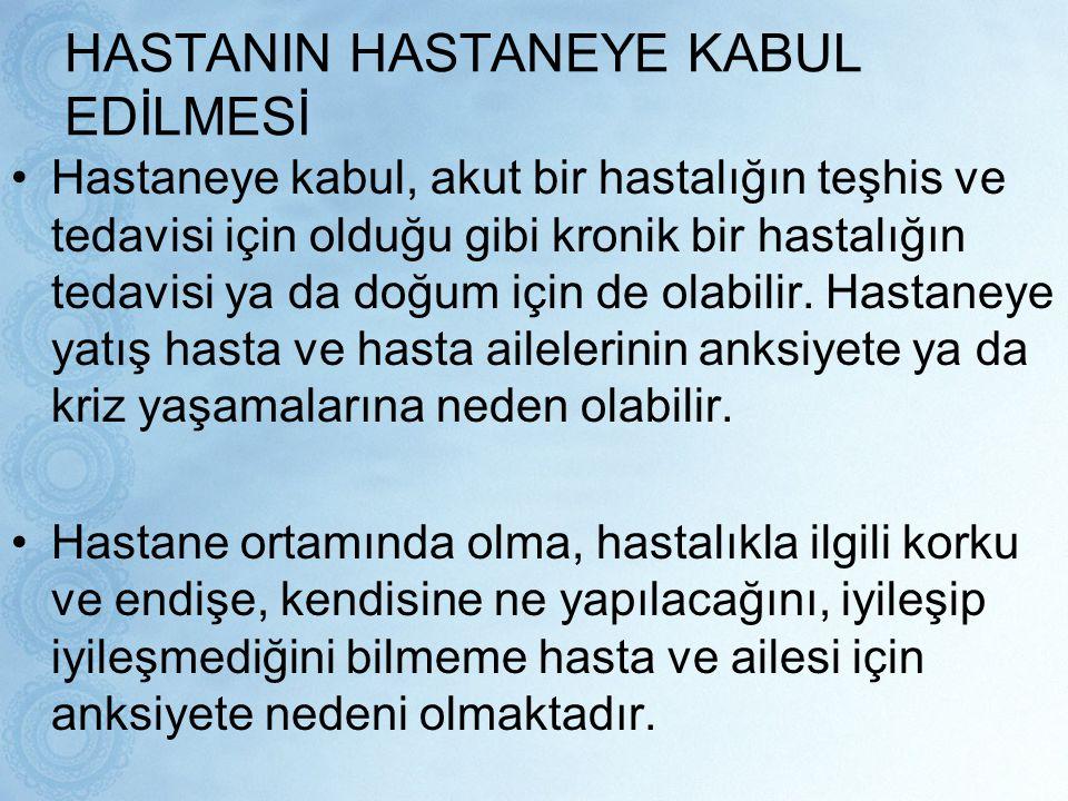 HASTANIN HASTANEYE KABUL EDİLMESİ