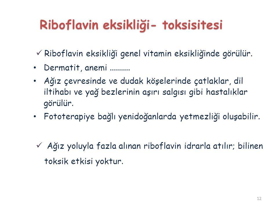Riboflavin eksikliği- toksisitesi