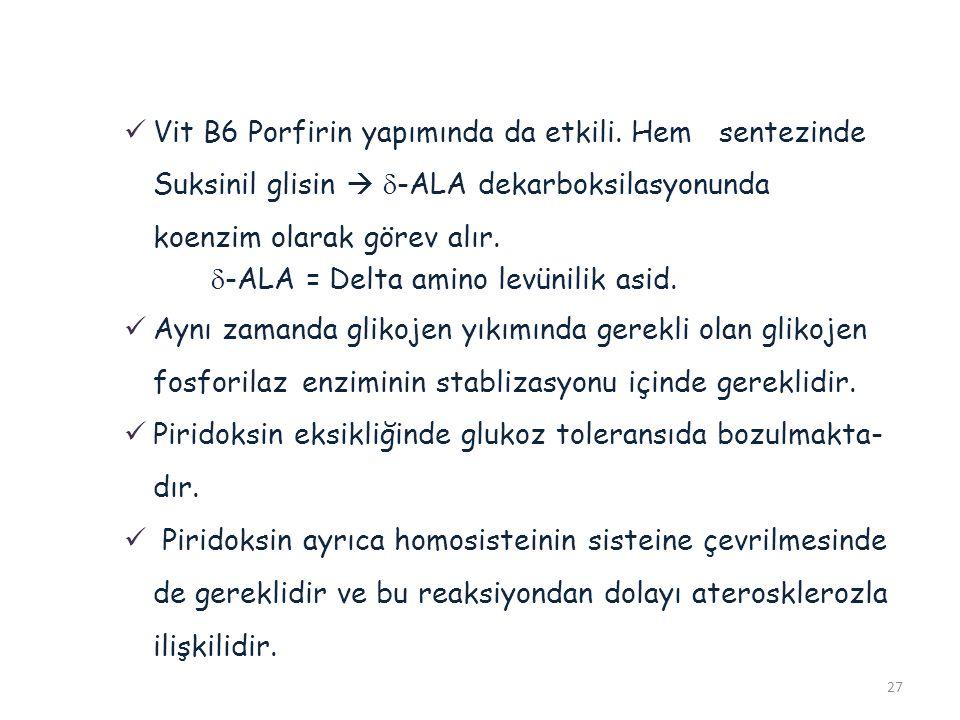 Vit B6 Porfirin yapımında da etkili