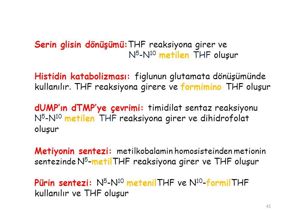 Serin glisin dönüşümü:THF reaksiyona girer ve