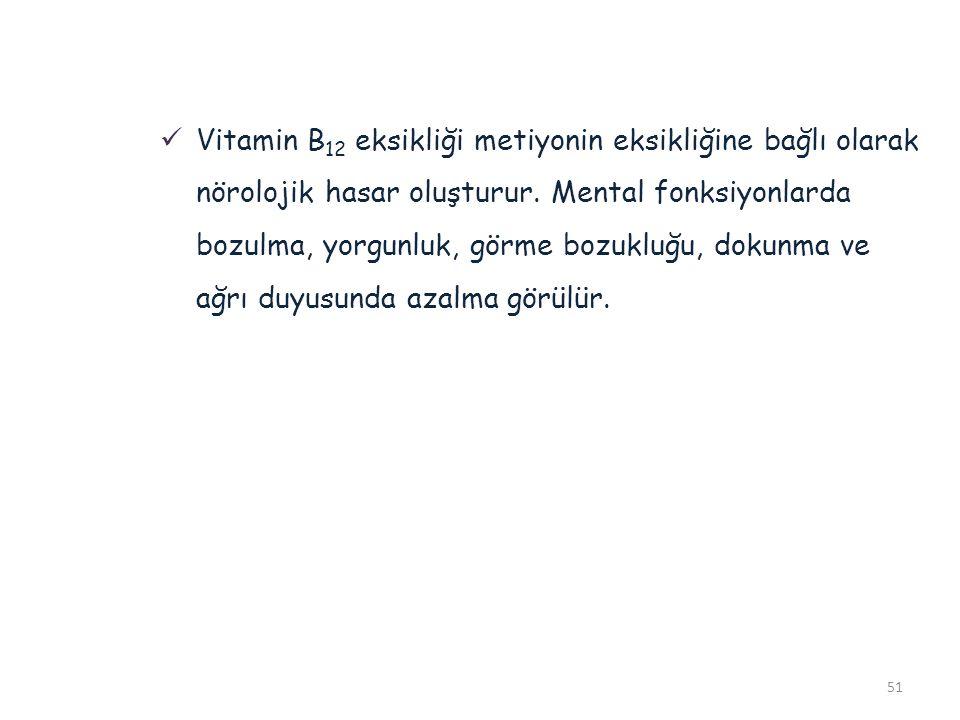 Vitamin B12 eksikliği metiyonin eksikliğine bağlı olarak nörolojik hasar oluşturur.