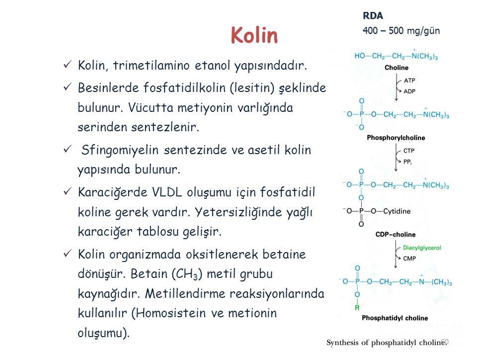 Kolin Kolin, trimetilamino etanol yapısındadır.
