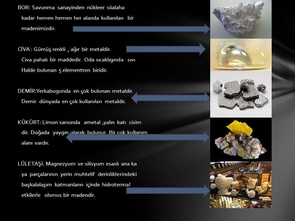 BOR: Savunma sanayinden nükleer siialaha kadar hemen hemen her alanda kullanılan bir madenimizdir.