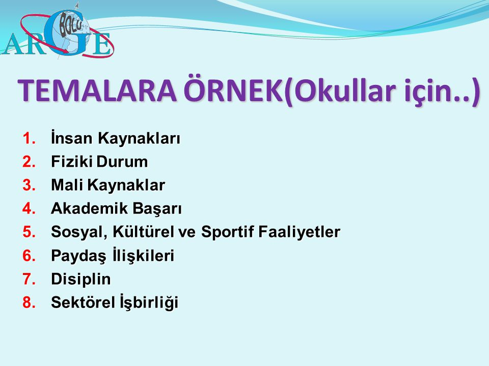 TEMALARA ÖRNEK(Okullar için..)