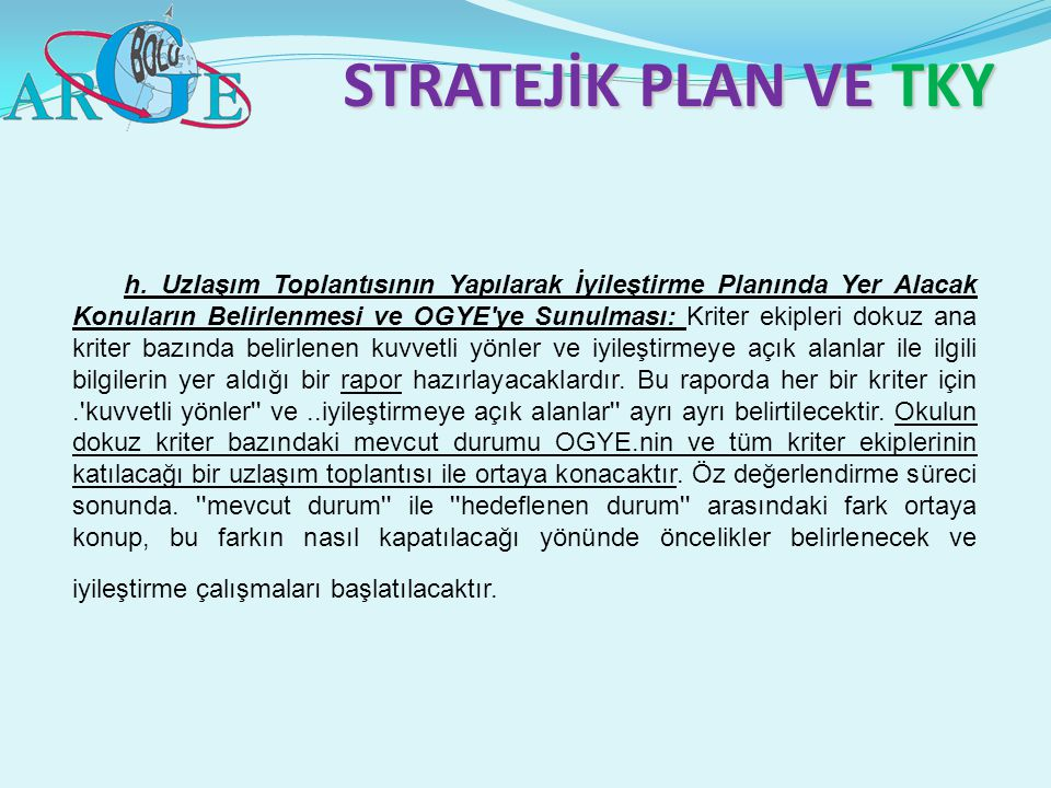 STRATEJİK PLAN VE TKY