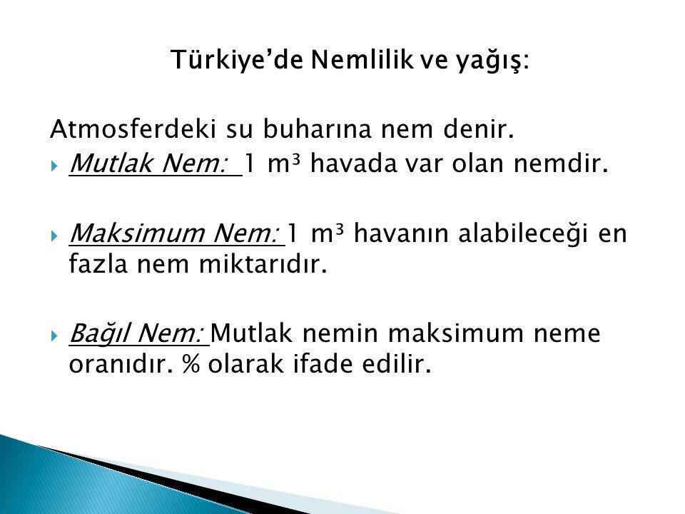 Türkiye'de Nemlilik ve yağış: