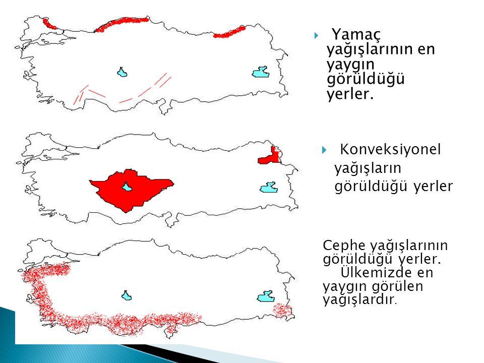 Konveksiyonel yağışların görüldüğü yerler