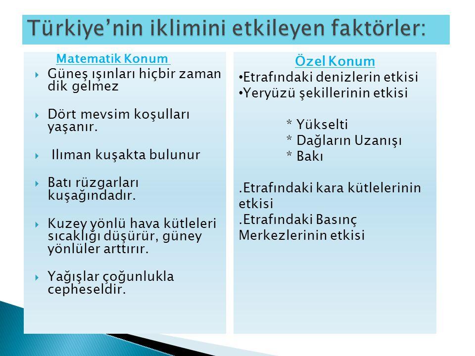 Türkiye'nin iklimini etkileyen faktörler: