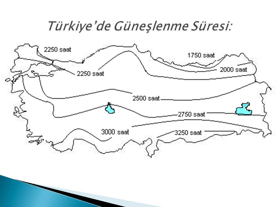 Türkiye'de Güneşlenme Süresi: