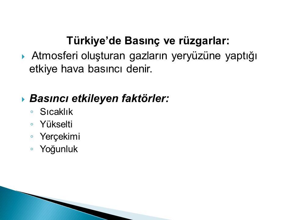 Türkiye'de Basınç ve rüzgarlar: