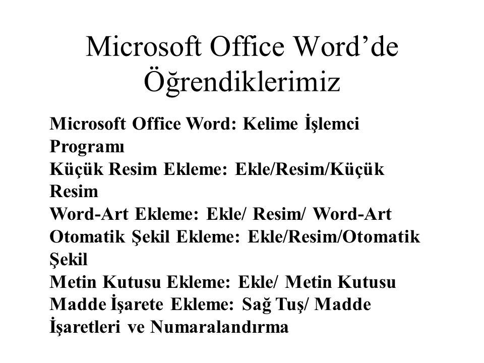 Microsoft Office Word'de Öğrendiklerimiz